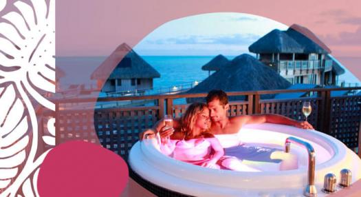couple relaxing on a spa in bora bora hotel
