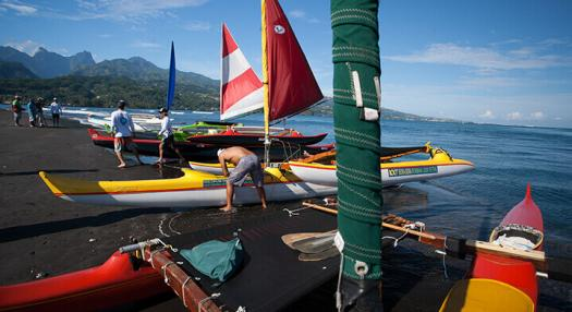 Photo of sailing canoes