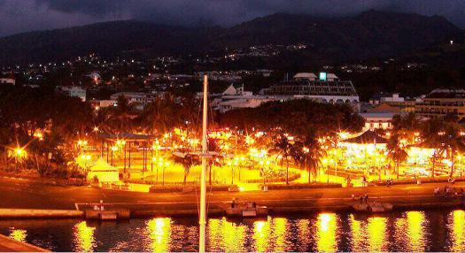 aeral view of the city of Papeete, capital of Tahiti, by night