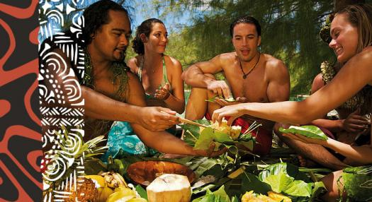 people having traditionnal tahitian meal