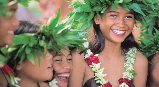 Tahitian kids smilling