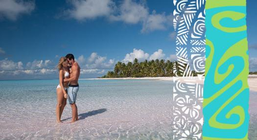 couple on a desert island in french polynesia