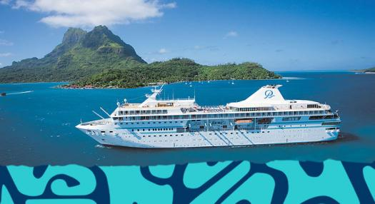 cruise boat in the lagoon of the islands of tahiti