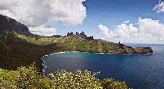 aeral view of the mountain of the Marquesas islands with sea