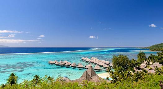 aeral view of the overwater bungallow of the sofitel Moorea beach