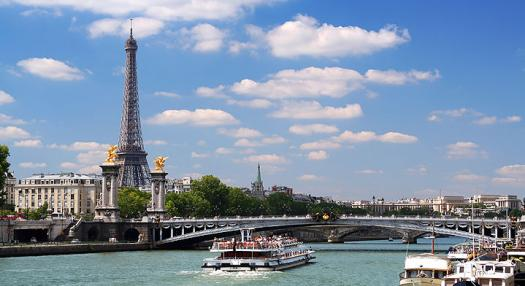 large view of the Eiffel tower and buildings in Paris