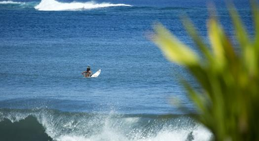 View of a surfer at Papara beach