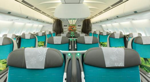 A view of Air Tahiti Nui's Poerava Business Class