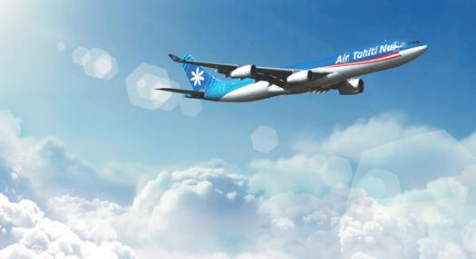 Photo of an Air Tahiti Nui plane flying above clouds
