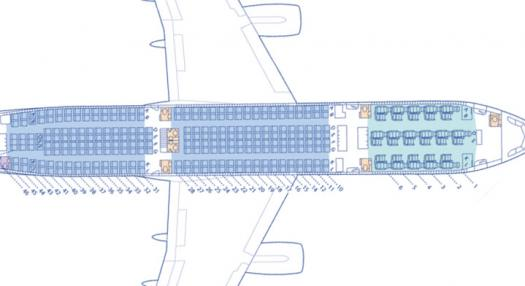 A map of the Poerava Business Class and the Moana Economy Class of Air Tahiti Nui