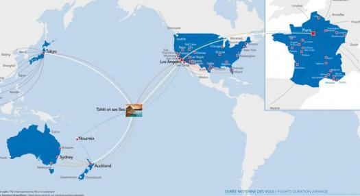 A wolrd map with all Air Tahiti Nui's principal destinations Auckland, Tokyo, Los Angeles, Paris