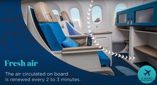 fresh air on board renewed every 2 to 3 minutes air tahiti nui cabin