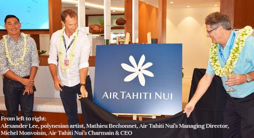 Air Tahiti Nui's new logo presentation in Air tahiti Nui's lounge at Tahiti Faaa's international airport