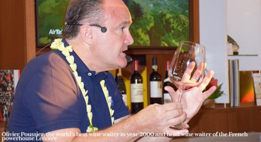 Olivier Poussier best sommelier of the world 2000 in Air Tahiti Nui's lounge at the international airport of Tahiti Faaa