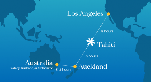 Routemap of LAX to Tahiti and Auckland, and Australia