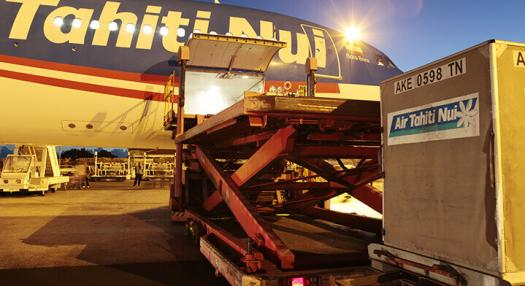 Air Fret container being loaded onboard of Air Tahiti Nui Aircraft