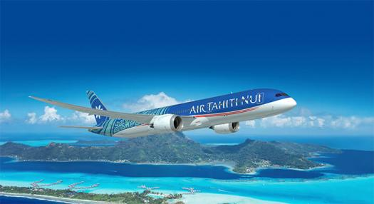 Air Tahiti Nui Tahitian Dreamliner over Tahiti